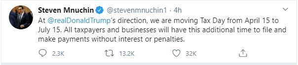 tax deadline extended mnuchin